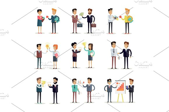 Set Of Business Concepts Vector In Flat Design