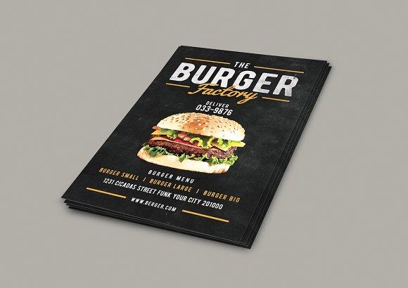 Burger Factory menu in Flyer Templates - product preview 1