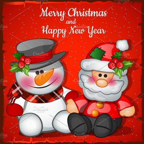 Snowman And Santa In Cartoon Style
