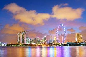 Skyline of Singapore at twilight