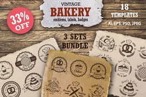 Bundle of 3 sets of bakery emblems