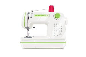 Modern sewing machine with red spool thread