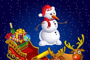 Christmas cards with snowman