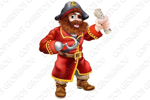 Cartoon Pirate With Treasure Map