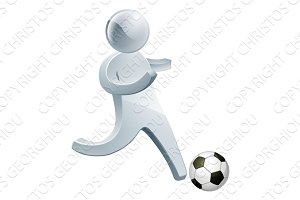 Football soccer silver man