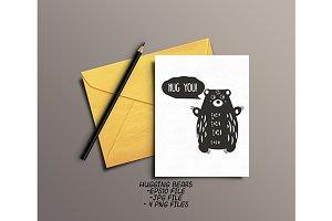 Artistic hugging bears. eps+jpg+png
