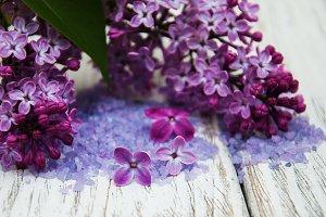 Lilac flowers with salt