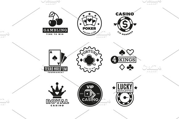 Vintage Gambling Casino Poker Royal Tournament Roulette Vector Labels Emblems Logos And Badges