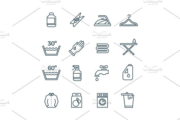 Clean Laundry And Dryer Service Vector Line Icons