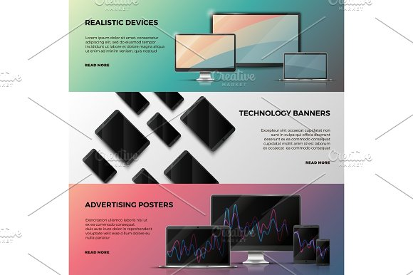 Advertising Vector Banners With Computer Screen Laptop And Smartphone