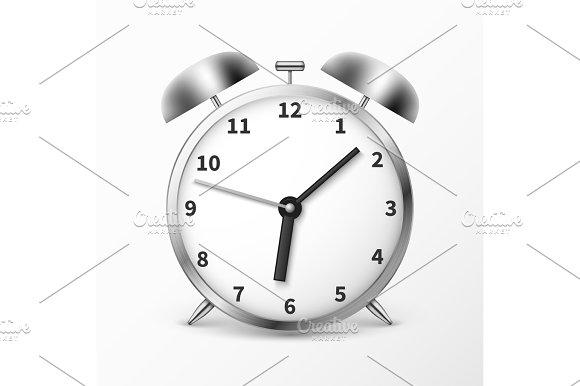 Alarm Clock With Bells Ringing Timer Vector Illustration
