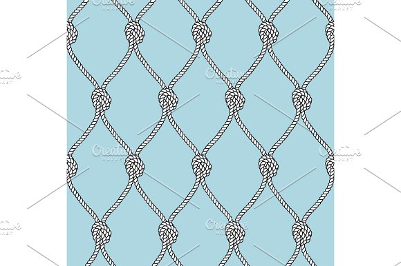 Marine Rope Fishnet With Knots Seamless Vector Background Nautical Repeating Texture