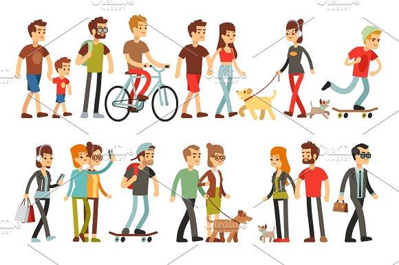 Women And Men In Various Lifestyles Cartoon Characters Vector Set