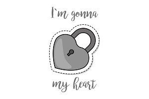 Fashion patch element heart shape lock