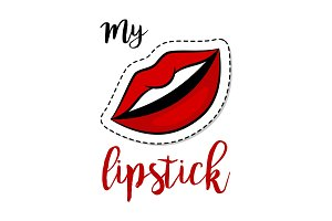 Fashion patch element woman lips