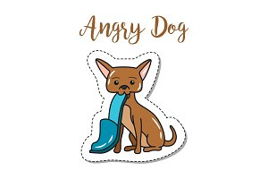 Fashion patch element angry dog