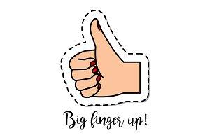 Fashion patch element Big finger up
