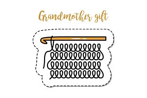 Fashion patch element grandmother knitting