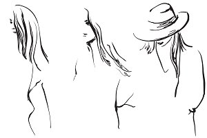 Sketching portrait. Fashion girls