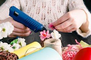 Woman make floral design