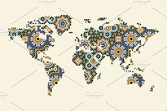 World Map With Morocco Ornament