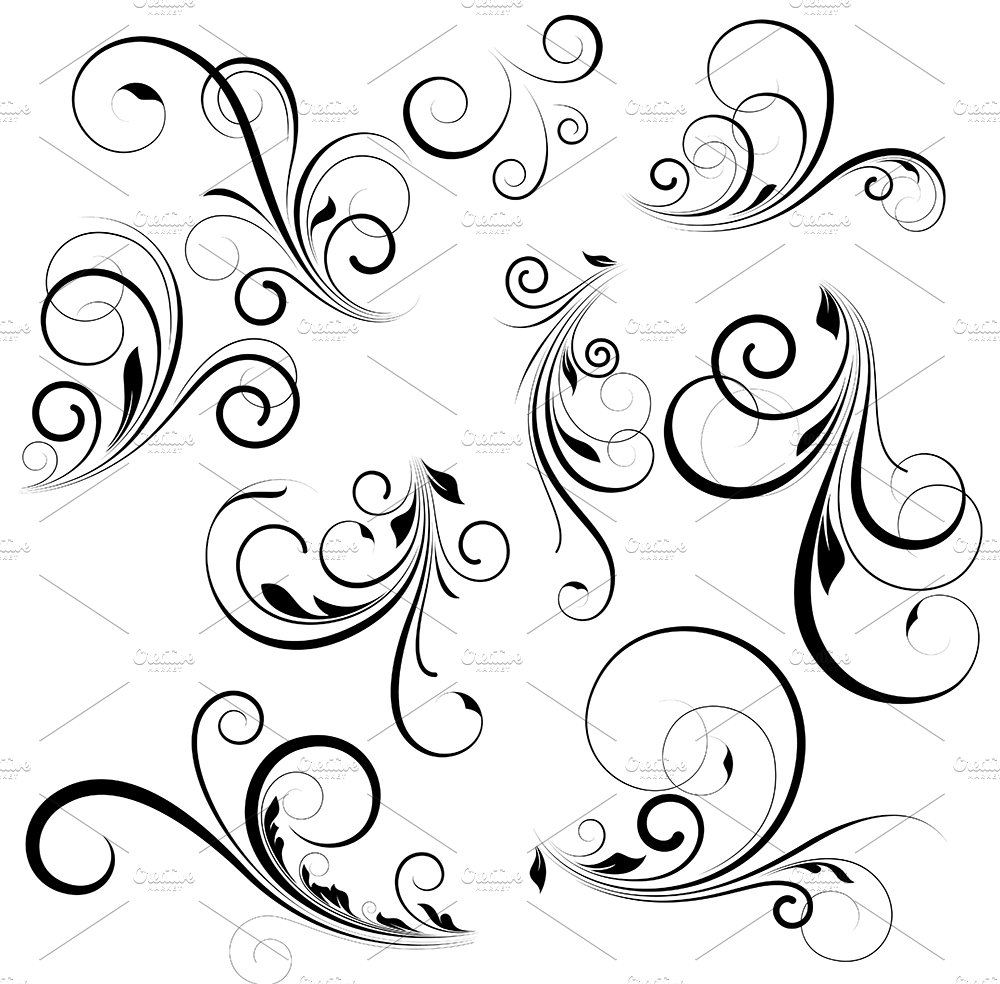 Vector swirls illustrations creative market for Swirl tattoo designs