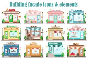 Vector building facade icons