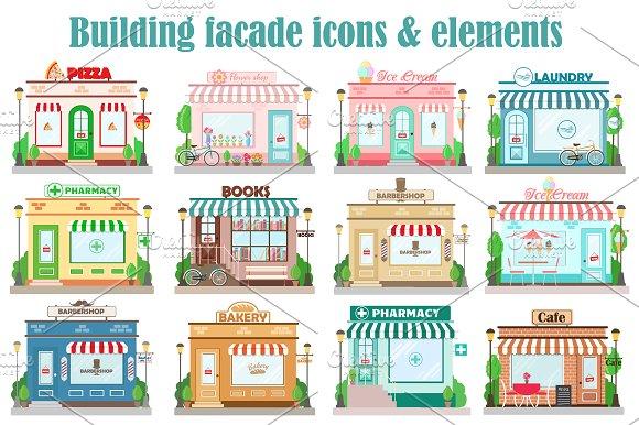 Vector Building Facade Icons