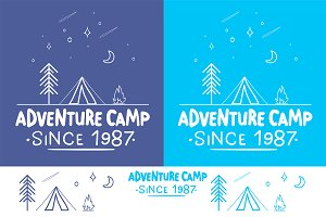 Trendy Camping Label + 3 Pattern