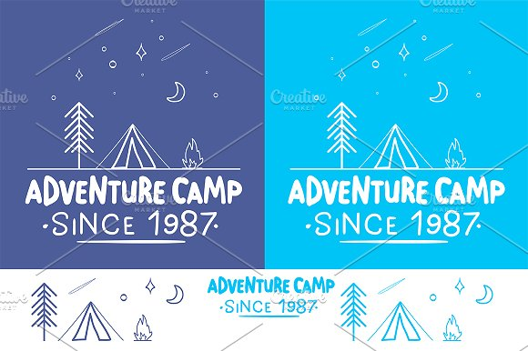 Trendy Camping Label 3 Pattern
