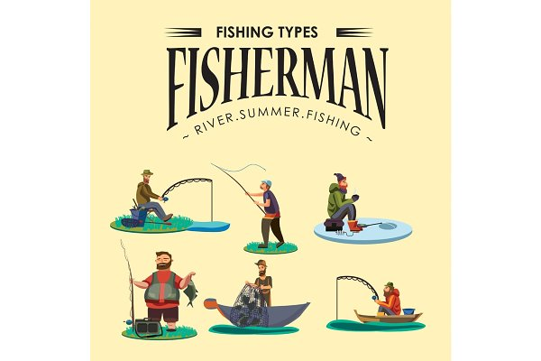 Set of cartoon fisherman catches fi…