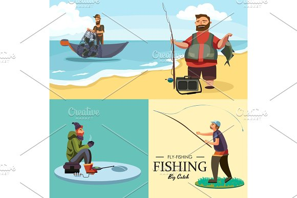 Happy Fisherman Stands And Holds In Hand Fishing Rod With Spinning And Fish Catch Bag With Fishman Spin And Equipment Funny Cartoon Vector Illustration Man Active Vacation Banner Or Flyer Concept
