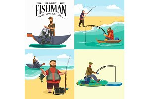 Cartoon fisherman standing in hat and pulls net on boat out of sea, happy fishman holds fish catch and spin vecor illustration fisher threw fishing rod into water concept, man active hobby character design