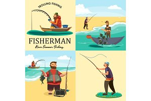 Set of cartoon fisherman catches fish sitting boat fisher threw fishing rod into water, happy fishman holds catch and spin, man pulls net out of the water, fishing on ice icon vector illustration