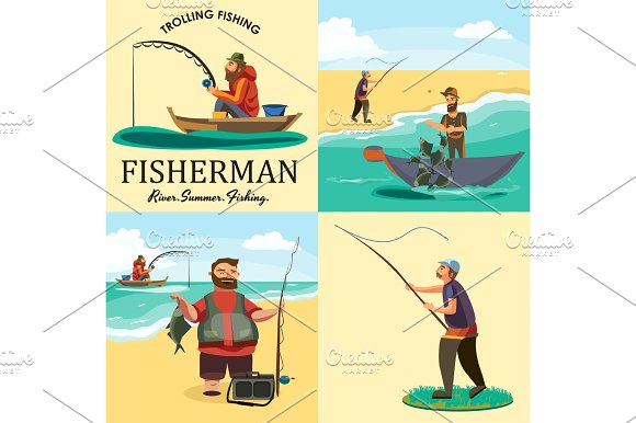 Set Of Cartoon Fisherman Catches Fish Sitting Boat Fisher Threw Fishing Rod Into Water Happy Fishman Holds Catch And Spin Man Pulls Net Out Of The Water Fishing On Ice Icon Vector Illustration