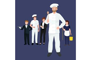Restaurant team, Occupation Chef man in a white suit and working in cap on his head holding spoon in hand, ready for cooking meals cafe or restaurant vector illustration