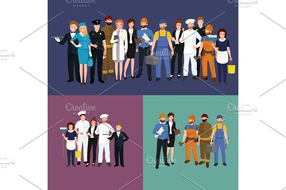 People Different Profession Man And Woman Vector Illustration Set