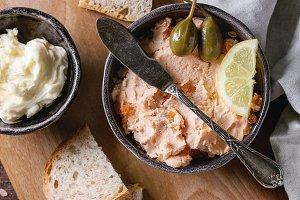 Salmon pate with red caviar