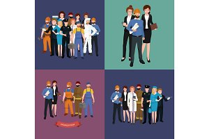 set workers team, profession people uniform, cartoon vector illustration