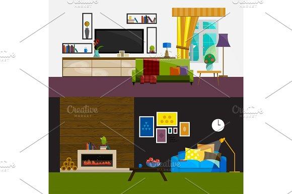 Living Room Interior Modern Flat Design Illustration