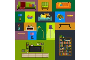 Vector collection of modern flat furniture icon set.