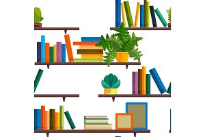 Seamless Illustration of bookshelfon wall with books in flat vector.