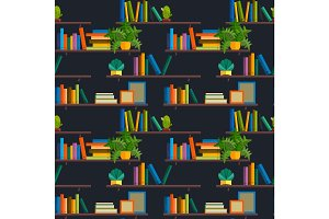 Seamless pattern stack of books in library shelfs collection, paper literature for school education, bookshelf in store vector illustration background