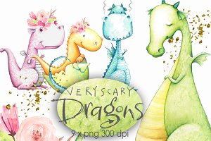 Cute Dragons Clipart Watercolor