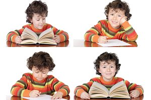 Sequence of a child studying