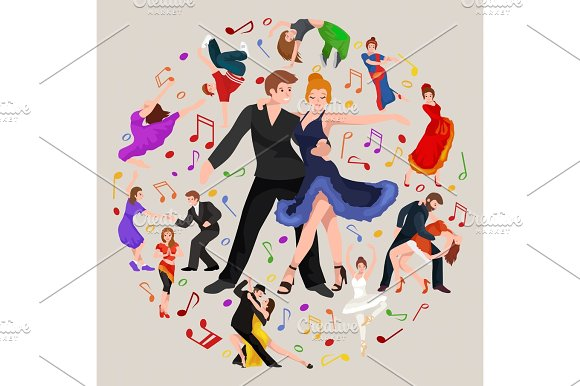 Happy Salsa Dancers Couple Isolated On White Icon Pictogram Man And Woman In Dress Dancing With Passion