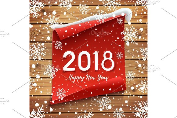 happy new year 2018 greeting card design objects