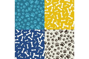 Dog Paw and bone, anilams pattern, vector illustration