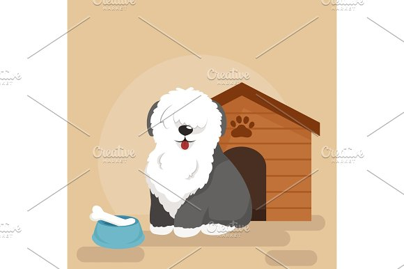 Happy Dog Kennel House With Bone And Bowl Of Food