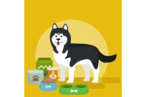 cartoon illustration of Husky with food bowl, eating dog